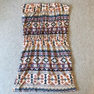 Colorful, tribal print strapless dress